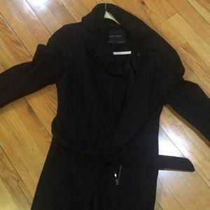 Zara basic black coat with belt